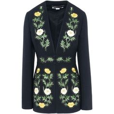 Stella Mccartney Embroidered Evening Jacket ($1,975) ❤ liked on Polyvore featuring outerwear, jackets, black, embroidery jackets, stella mccartney jacket, stella mccartney, special occasion jackets and evening jackets
