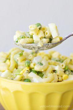 Classic Macaroni Salad Eggs, peas (don't cook), celery, sweet relish, mustard, mayo.