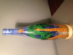 Hand painted wine bottle with lights. $25.00