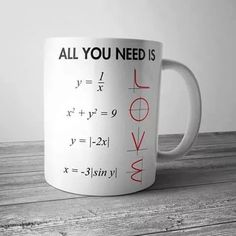All You Need Is Love Math Mug These simple Mugs have a capacity of and are stackable for quick and easy use in a fast paced and busy environment. Made from high quality ceramic and these Mugs are fully vitrified for heat and shock. Diy Cadeau, Math Jokes, Algebra Humor, Love Math, Cute Gifts, Funny Gifts, Funny Mugs, Teacher Gifts, Math Teacher