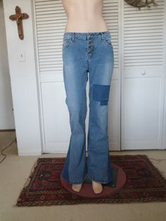 Size 15 Womens Refashioned Elephant Bell Bottom Patched Jeans redesigned upcycled blue repurposed hippie boho gypsy cowgirl glam style by LandofBridget on Etsy