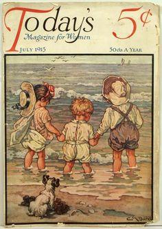 """""""Today's"""" magazine - July 1915 - Cover illustration by Clara M. Vintage Ephemera, Vintage Cards, Vintage Postcards, Images Vintage, Vintage Pictures, Old Magazines, Vintage Magazines, Magazin Covers, Retro Kids"""