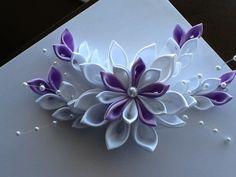 White & Lavender Kanzashi Flower Hair by LihiniCreations