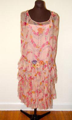 1920s Silk Chiffon Dress with Ribbon Flowers M/L by Maudelynn