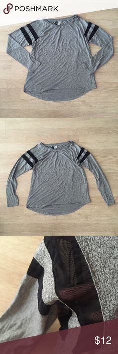 Divided by H&M gray long sleeve top varsity stripe Never worn, tags still attached long sleeve gray top from h&m. Has black sheer variety stripes on arms. Not sold in stores anymore. MAKE OFFERS ! H&M Tops Tees - Long Sleeve
