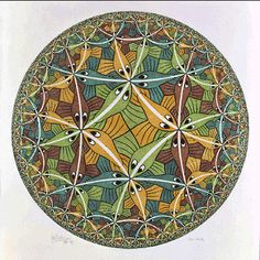 M.C. Escher - Circle Limit III 1959 woodcut, second state, in yellow, green, blue, brown and black, printed from 5 blocks