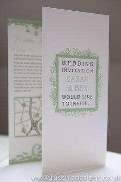 Wedding stationery, Wedding invitation in peppermint green in Picture Frame design. www.fuschiadesigns.co.uk
