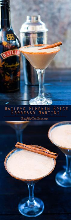 Baileys Pumpkin Spice Espresso Martini - This Baileys Pumpkin Spice Espresso Martini is THE fall cocktail to serve this Halloween and Thanksgiving. It's creamy and delicious, full of fall flavours, so easy to mix up, and the espresso will give you the boo Fall Cocktails, Holiday Drinks, Fun Drinks, Yummy Drinks, Yummy Food, Vodka Cocktails, Martinis, Winter Drinks, Drinks Alcohol