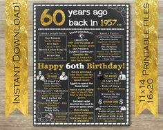 1957 cumpleaños signo 60 cartel de cumpleaños allá por 1957