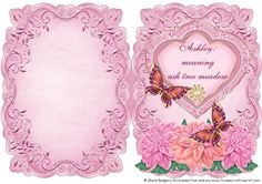 Name Meaning Card Ashley on Craftsuprint - Add To Basket!