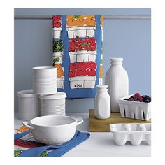 Crate and Barrel White Ceramic Kitchen Accessories Crate And Barrel, Crate Storage, Food Storage Containers, Small Milk Bottles, Plastic Crates, Egg Crates, Square Baskets, Berry Baskets, Toy Kitchen