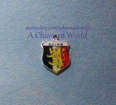 Vintage Enamel Silver Belgie Belgium Shield Charm