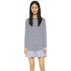 Clu Long Sleeve Ruffle Tee Dress ($170) ❤ liked on Polyvore featuring dresses, navy stripe, jersey t shirt dress, navy blue dress, t-shirt dresses, striped dresses and long sleeve striped dress