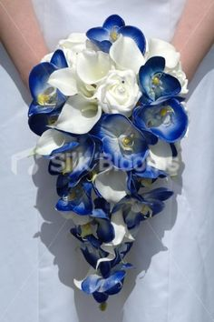 white roses and black calla lillies   Calla Lily & Rose Cascading Bouquet Royal Blue Orchid Ivory Calla Lily ...