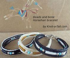 Rosshaar-Armband in Türkis Silber und Knochen Perlen von Knotatail