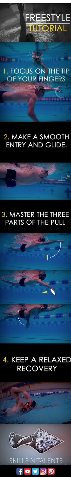 Freestyle tutorial. This is part 1 of my series of tutorials for beginners of swimming freestyle or crawl technique. If you want more swimming tips and techniques visit: youtube.com/skillsnt
