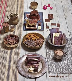 Chocolate. Ok so this whole spread screams #Taurus to me. Decadent treats. Rustic table and wares. The chocolate is even organic!