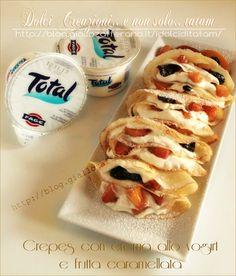 Crepes allo yogurt greco e frutta caramellata | ricetta leggera |tatam