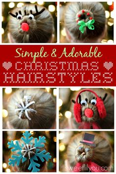 Simple & Adorable Christmas Hairstyles Simple Christmas Hairstyles – Sweet Lil You - Unique World Of Hairs Crazy Hair Day At School, Crazy Hair Days, Kids Christmas, Christmas Crafts, Simple Christmas, Little Girl Hairstyles, Cool Hairstyles, Hairdos, Ballet Hairstyles