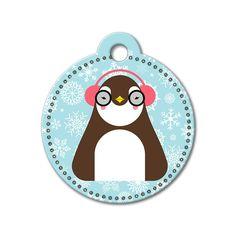 Penguin Holiday Dog Tag #holidays #dogtagsfordogs #pettags #dogaccessories #dogfashion #dogs #pets #etsy #etsyfinds #penguin #christmas
