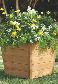Crafted of solid teak, this handsome planter is a natural for any outdoor setting.