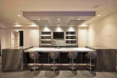 Interior:High Functional Small Basement Ideas With Smart Basement Remodeling Plus Kitchen Dining Sets Plus Modern Bar Stools High Functional Small Basement Ideas with Smart Basement Remodeling