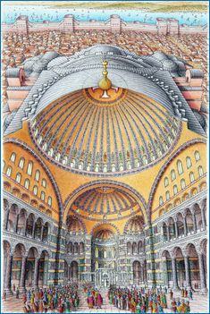 Hagia Sophia Inside-out drawing of Hagia Sophia. First appeared in 'Quest for the Lost City of Gold' published by Dorling Kindersley 2007. Pencil crayon and pen on paper 185mm x 290mm. Copyright Stephen Biesty 2007.