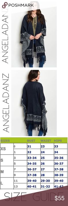 Navy and Gray Tribal Sweater Cardigan Gorgeous navy and gray tribal print knit sweater with long sleeves and an open drape cardigan style. Has a fringe hem. 100% acrylic Sweaters