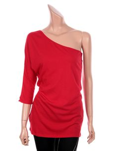 VICTORIA Sexy One Shoulder 3/4 Sleeve Slim Fit Tops Tees T Shirts Red color sz M #VictoriasSecret #Sexy #Casual