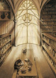 WIP:HogwartsLibrary by pikaf on DeviantArt