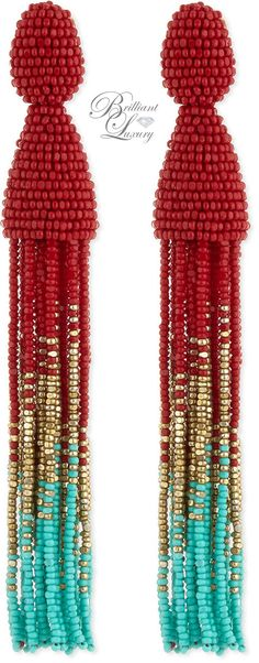 Brilliant Luxury * Oscar de la Renta Beaded Ombre Tassel Earrings