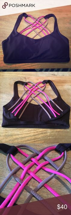 Lululemon Free To Be Wild bra Rare and beautiful Lululemon Free To Be Wild bra in excellent used condition // cup inserts included // size 6 // colorway is black cherry (deep purple)/raspberry glo/bark berry (Spring 2015 collection) lululemon athletica Intimates & Sleepwear Bras