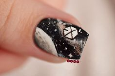 So here's the tutorial I promised for my exo-l galaxy nails. I'm really bad at video tutorials guys I'm sorry. K Pop Nails, Fun Nails, Pretty Nails, Hair And Nails, Galaxy Nail Art, Nails 2017, Butterfly Nail, Nail Art Videos, Nail Art Stickers