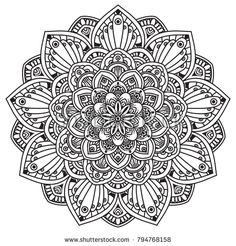 Black and white mandala vector isolated on white. Vector hand drawn circular decorative element.