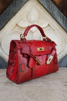 b29d97e97fe8 Real Genuine PHYTON Snakeskin Leather Women Bag RED Elegant Snake Skin  Reptile Handmade
