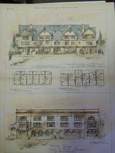 Study of Houses for Mr. T.L. Schurmeier, St. Paul, MN, 1885. Original Plan. Cass Gilbert.