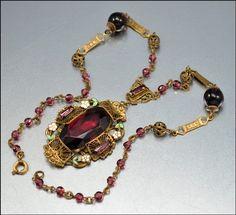 Art Deco Czech Enamel Purple Necklace Glass Gold Filigree