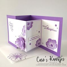 Caro's Kaartjes: Floral Essence Double Z fold kaart Z Cards, Cool Cards, Stampin Up Cards, Fancy Fold Cards, Folded Cards, Card Making Inspiration, Making Ideas, Shaped Cards, Greeting Cards Handmade