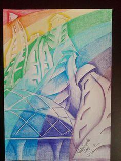 Arte com lápis e em telas : Sonho colorido, lápis de cor
