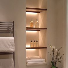 28 Ideas For Strip Lighting Ideas Powder Rooms – Creative Bathroom Design Recessed Shelves, Bathroom Interior, Bathroom Niche, Floating Shelves, Shelves, Shelf Lighting, Interior, Bathroom Decor, Bathroom Lighting Design