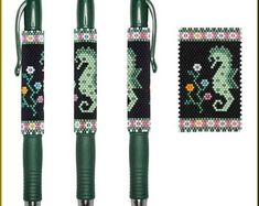 Sea Biscuit G2 Pen Cover Pattern in Mint & Dusky Rose