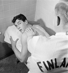 Rock Hudson receiving a massage, 1952