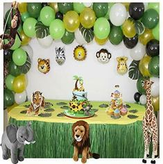 Jungle Theme Parties, Jungle Theme Birthday, Safari Theme Party, 1st Birthday Party Decorations, Baby Shower Decorations For Boys, 1st Birthday Parties, Safari Decorations, Jungle Safari, Tool Set