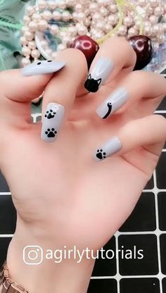 If you like it with an attractive nail design and you can try it at home Cat Nail Designs, Nail Art Designs Videos, Nail Art Videos, Simple Nail Art Designs, Acrylic Nail Designs, Panda Nail Art, Cat Nail Art, Nail Art Diy, Cat Nails