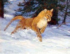 "Artist and painter Julie Jeppsen's ""In Pursuit""  - fine original oil painting wildlife art of cougar pouncing through the snow - mountain lion"