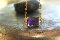 Gold Necklace Amethyst Necklace  Bridesmaid Gift by meltemsem, $45.00