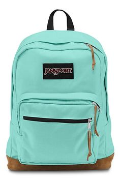 The new classic JanSport Aqua Dash Right Pack backpack from the features a laptop sleeve and the signature suede leather bottom.