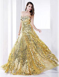 Sheath/Column  Strapless Floor-length Sequined Evening Dress  – USD $ 89.99