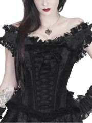 Walkingon Steel Boned Gothic Lace Steampunk Overbust Corsets and Bustiers