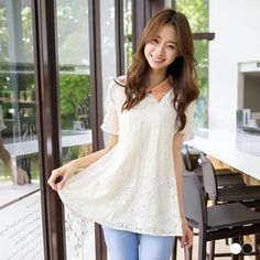 Buy OrangeBear Cut-out Lace Paneled Collar Top at YesStyle.com! Quality products at remarkable prices. FREE WORLDWIDE SHIPPING on orders over US$35.